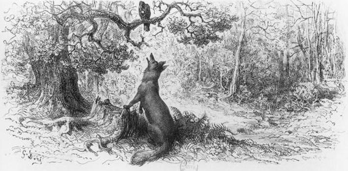 The Crow and the Fox, from 'Fables' by Jean de La Fontaine by Dore, Gustave (1832-83)