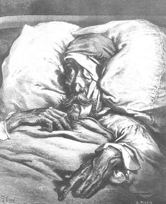 Don Quixote wounded, from 'Don Quixote de la Mancha' by Miguel Cervantes