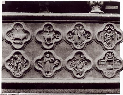 Quatrefoils with the Signs of the Zodiac, Labours of the Year, and prophets Sophonie and Ezekiel, from the Cathedral of Notre-Dame in Amiens