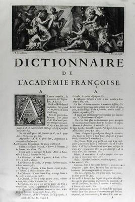 Frontispiece for the French Academy dictionary, engraved by Jean Mariette