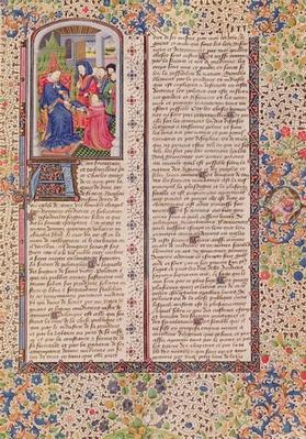 Ms 927 Fol.186 Presentation of 'The Politics' to the King, from 'Ethics, Politics and Economics' by Aristotle