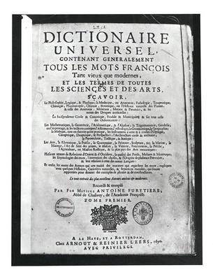 Titlepage of the 'Dictionnaire Universel' by Antoine Furetiere