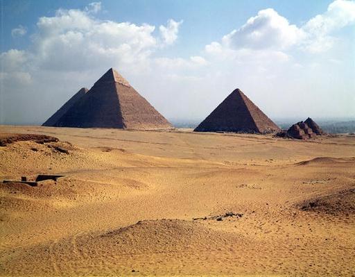 View of the Pyramids of Cheops, Chephren and Mycerinus