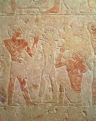Relief depicting two sculptors carving a statue, from the mastaba of Kaemrehu, Saqqara, Old Kingdom, c.2325 BC
