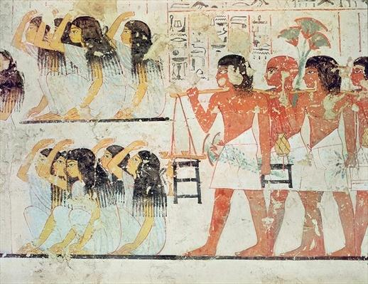 Group of mourners in the funeral procession of Ramose, from the Tomb Chapel of Ramose, New Kingdom, c.1360 BC