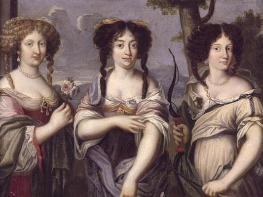 Portrait of three of the nieces of Cardinal Mazarin portrayed as goddesses, Venus, Juno and Diana