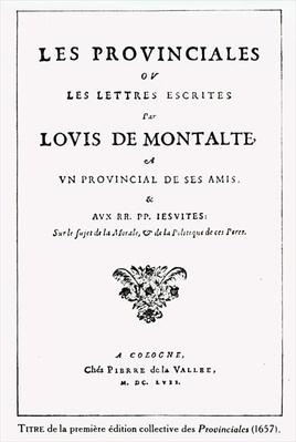Titlepage of 'Les Provinciales' by Blaise Pascal