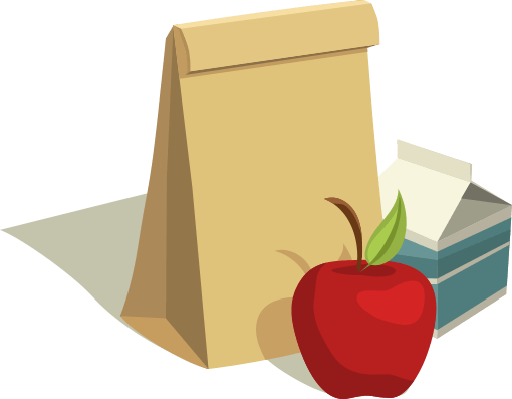 Sack Lunch with Apple and Milk Carton | Health and Nutrition
