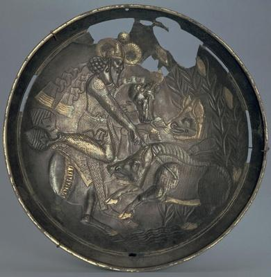 Dish decorated with a scene of Prince Varahran out hunting, Sassanid dynasty