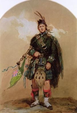 A Piper of the 79th Highlanders at Chobham Camp in 1853