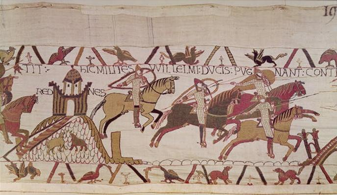 The Town of Rennes and Duke William's soldiers fighting against the men of Dinan, detail from the Bayeux Tapestry, before 1082