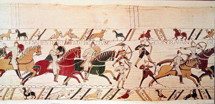 Duke William exhorts his troops to prepare themselves for the battle against the English army, detail from the Bayeux Tapestry, before 1082