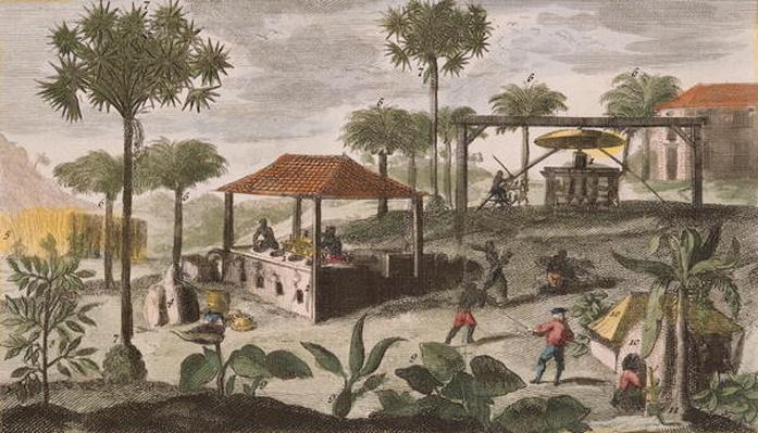 Sugar Refinery, illustration from 'Histoire Generale des Antilles Habitees par les Francois Vol. 2' by Jean Baptiste Du Tertre