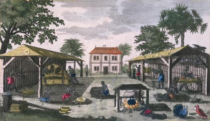 The Colonial Household, illustration from 'Histoire Generale des Antilles Habitees par les Francois Vol. 2' by Jean Baptiste Du Tertre