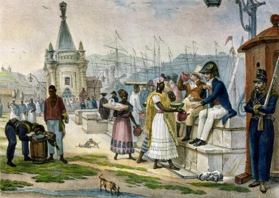 Early Evening Refreshment in the Praca do Palacio, Rio de Janeiro, illustration from 'Voyage Pittoresque et Historique au Bresil', 1835
