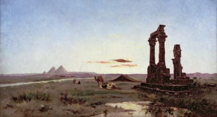 A Bedouin Encampment by a Ruined Temple