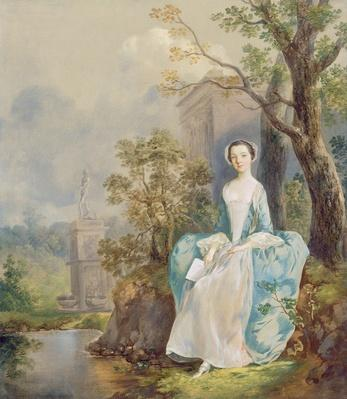 Girl with a Book Seated in a Park, c.1750