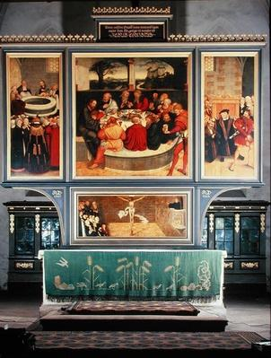 Altar with a Triptych depicting: left panel, Philipp Melanchthon