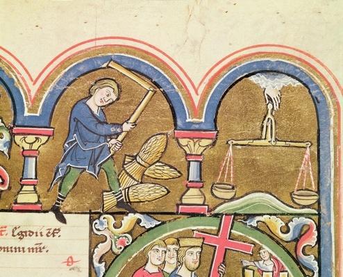 September: Threshing Grain, from the Psalter of St. Elizabeth