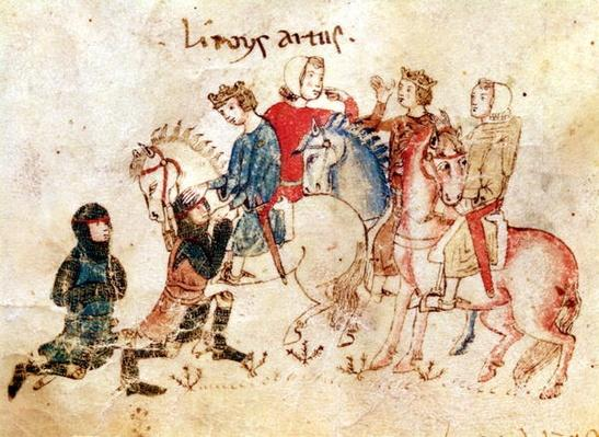 The Knights Esclabor and Arphasar Offer their Services to King Arthur, from the Roman de Meliadus
