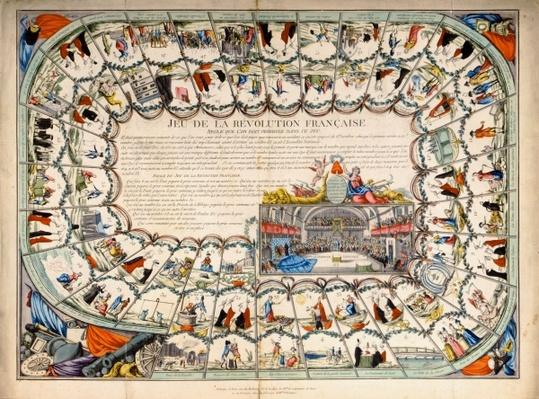Snakes and ladders board based on the French Revolution, 1791