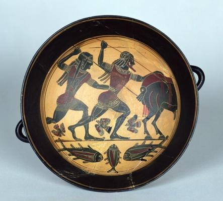 Interior of a cup depicting the hunt for the Boar of Calydon, Laconian, c.560 BC