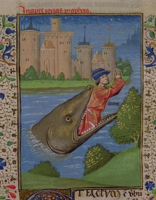 Ms H 7 f.111r Jonah and the Whale, from the Bible of Jean XXII
