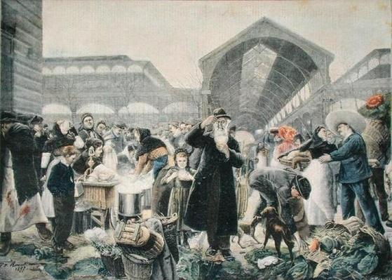 Soup Stand at Les Halles Market in the Morning, illustration from 'Le Petit Journal', 2nd March 1897, engraved by Fortune-Louis Meaulle