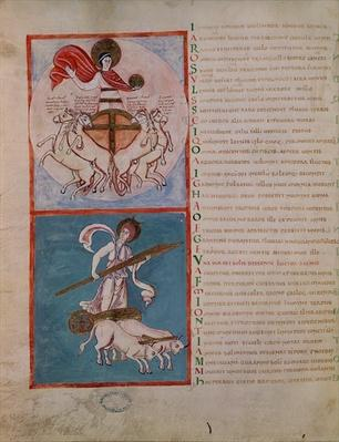 Ms 188 Fol.32v Apollo as the Sun and Diana as the Moon, illustration from 'Les Phenomenes' by Aratos