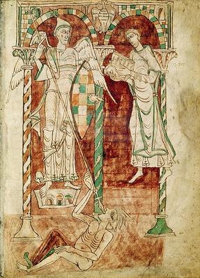 Ms 50 Fol.1v The Copyist Presents his Book to St. Michael, from the 'Recognitiones' by Saint Clement