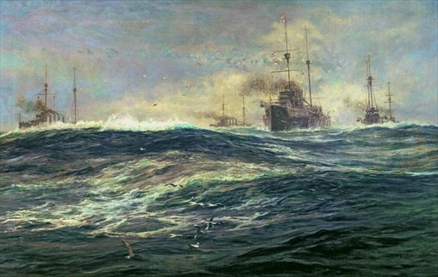 1st Battle Squadron of Dreadnoughts Steaming down the Channel in 1911