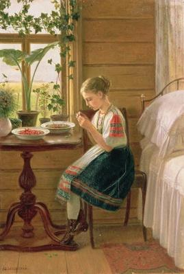 Girl Peeling Berries, 1880
