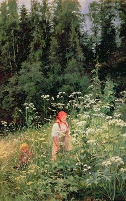 Girl among the wild flowers, 1880