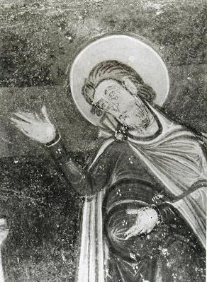 Detail of St. Savin, from a fresco depicting St. Savin and St. Cyprien being delivered from the beasts, c.1100