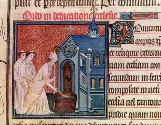 Ms Latin 962 Fol.63 Bishop Consecrating a church, from the 'Pontifical of Sens'