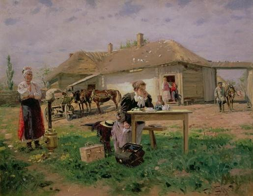 Arrival of a School Mistress in the Countryside, 1897