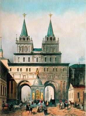 The Iberian Gates in the Moscow Kremlin, engraved by A. Muller, 1840s