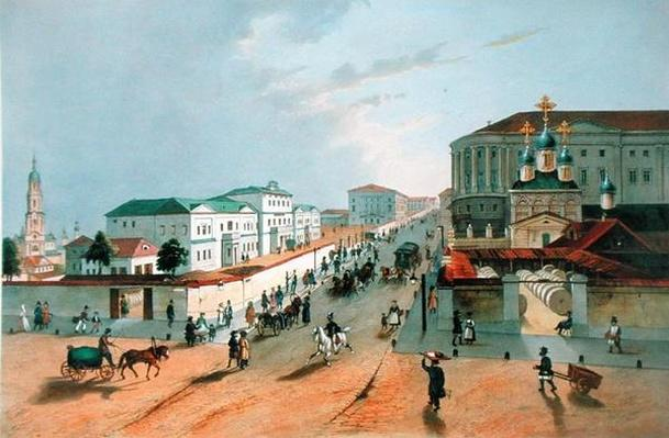 The Imperial Post Office in Moscow, engraved by A. Muller, 1840s