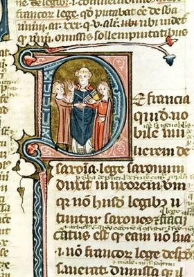 Ms 376 f.320 Historiated initial 'D' depicting a priest blessing a marriage, from 'Les Gregoriennes'