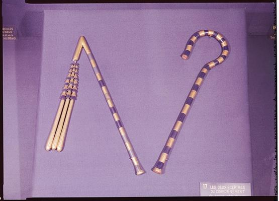 Crook and flail, from the Tomb of Tutankhamun