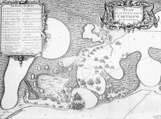 Plan of the Town and Harbour of Cartagena, Colombia, in 1697