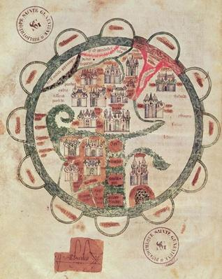Ms 782 f.374v World map with Jerusalem in the centre, from 'Chroniques de St. Denis', c.1275