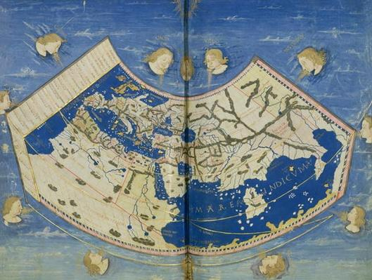 Ms Lat 463 Fol.75v-76r Map of the World with the Twelve Winds