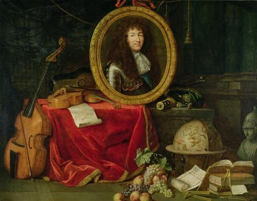 Still life with portrait of King Louis XIV