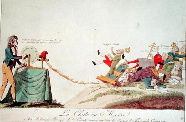 Revolutionary cartoon depicting 'The Electrical Spark of Liberty that will Topple the Thrones of all Corrupt Monarchs', 1793