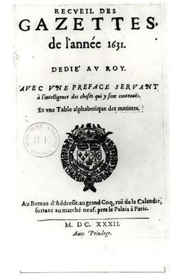 Title page of the first collection of 'La Gazette', 1632
