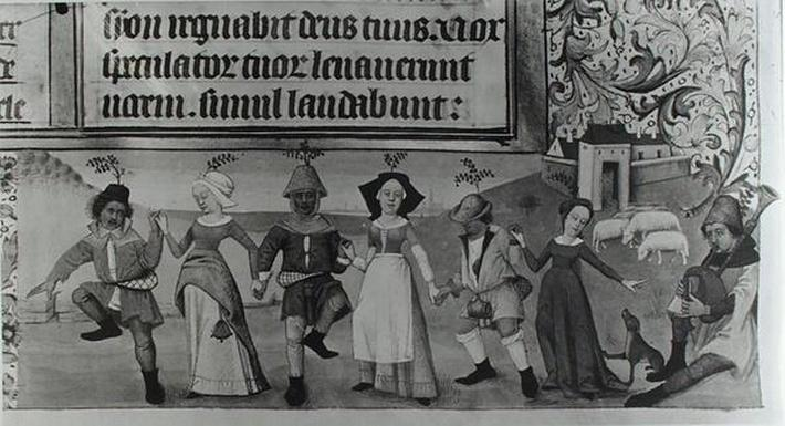 Ms Lat 1173 f.20 Pastoral Dance, from the Hours of Charles d'Angouleme, c.1480