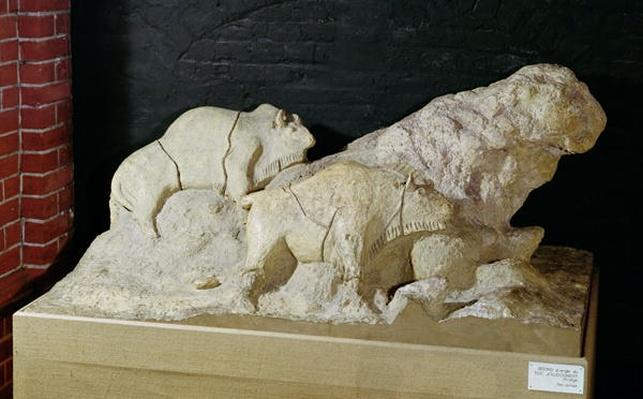 Copy of a sculpture of bisons, from Le Tuc-d'Audoubert, Magdalenian