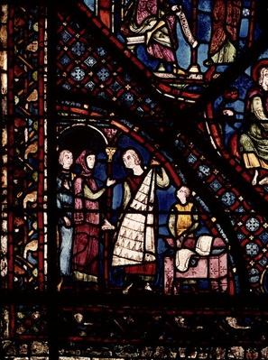 Detail of a window depicting fur traders and drapers, from the north ambulatory