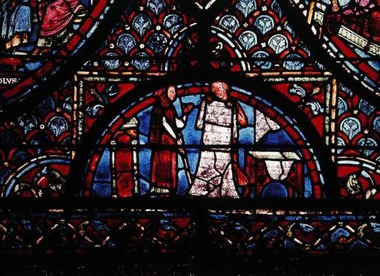 Fur Traders, detail from a window depicting Scenes from the Life of Charlemagne, from the north ambulatory